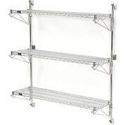 "Nexel Wall Mount Wire Shelving 48""W x 18""D x 54""H 3-Shelf Starter-Chrome"