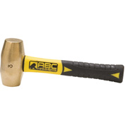 "ABC Hammers ABC3BFS 3 lb. Non-Sparking Brass Hammer, 8"" Fiberglass Handle"
