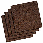 "Quartet® Dark Cork Tiles, 12"" x 12"", Modular, Self-Healing, Self-Stick, 4Pk - Pkg Qty 12"