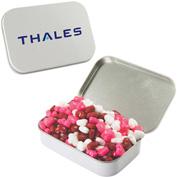 Large Rectangle Mint Tin with Candy Hearts