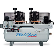 Belaire 8090253355 Iron Series Two Stage Horizontal Duplex Air Compressor, 2 x 5HP, 120 Gallon