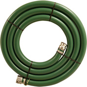 "1-1/2"" x 20' Green PVC Water Suction Hose Assembly Coupled w/ C x E Aluminum Cam & Groove Couplings"