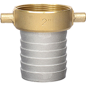 "Apache 43076000 2"" Aluminum Female Short Shank Coupling w/ Brass Nut"