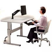 Equity™ Height Adjustable Computer Workstation - Gray