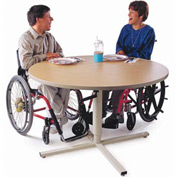Height Adjustable Round Group Therapy Table - Maple