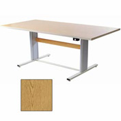 "Infinity™ Powered Height Adjustable Group Therapy Table - 48""L x 36""W Oak"