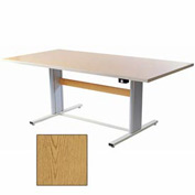 """Infinity™ Powered Height Adjustable Group Therapy Table - 66""""L x 48""""W Oak"""