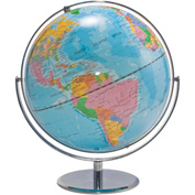 "Advantus® 12"" World Globe w/ Blue Oceans, Raised Relief, Silver, Semi-Meridian"