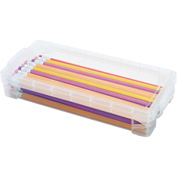 Advantus® Super Stacker Pencil Box, Clear, Holds 50+ Pencils, 25+ Pens, or 64+ Crayons - Pkg Qty 16