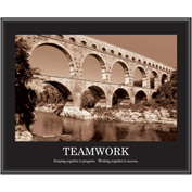 "Motivational Poster - Teamwork - Sepia-tone -  Framed - 30"" x 24"""