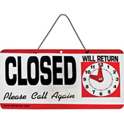"Advantus® Open/Closed Sign with Hand Clock, 11-1/2 x 6"" - Pkg Qty 12"