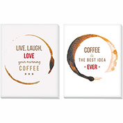 "Advantus® Canvas Motivational Print, 11""W x 14""H Breakroom Coffee, Set of 2"