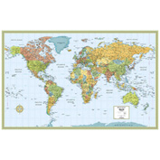 "Rand McNally M Series Deluxe World Wall Map, Rolled, Laminated, 50"" x 32"""