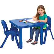 "Angeles Myvalue Set 2 Square Preschool Table & 2 Chair Set 24"" x 24"" x 20"" Blue"