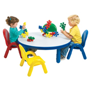 "Angeles Baseline Round Toddler Green Table & Multi-Color 4 Chair Set 36"" x 36"" x 12"""