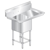 "One Bowl Aerospec SS NSF Sink with 24""W Right Drainboard - 16""Wx21""D"