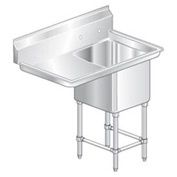"One Bowl Aerospec SS NSF Sink with 30""W Left Drainboard - 24""Wx24""D"