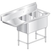 "Two Bowl Aerospec SS NSF Sink with 24""W Left Drainboard - 16""Wx21""D"
