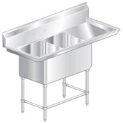 "Two Bowl Aerospec SS NSF Sink with 24""W Right Drainboard - 18""Wx24""D"