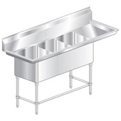 "Three Bowl Aerospec SS NSF Sink with 30""W Right Drainboard - 24""Wx24""D"