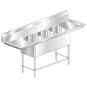 "Three Bowl Aerospec SS NSF Sink with two 36'W Drainboards - 24""Wx24""D"