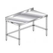"Aero Manufacturing 2TGBX-36144 144""W x 36""D Stainless Steel Workbench 4"" Backsplash Galv."