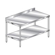 "Aero Manufacturing 2TSB-30132 132""W x 30""D Stainless Steel Workbench 4"" Backsplash SS Undershelf"