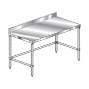 "Aero Manufacturing 2TSBX-2496 96""W x 24""D Stainless Steel Workbench 4"" Backsplash and Crossbracing"