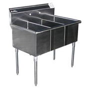 Deluxe SS Non-NSF Three Bowl Sink - 24 x 21