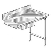 Deluxe SS NSF Soiled Straight w/ Right Drainboard - 72 x 30