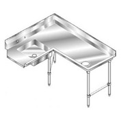 Deluxe SS NSF Soiled Corner w/ Right Drainboard - 144 x 60