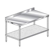 "Aero Manufacturing 3TGB-24132 132""W x 24""D Stainless Steel Workbench 4"" Backsplash"
