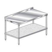 "Aero Manufacturing 3TGS-3696 96""W x 36""D Stainless Steel Workbench, 2-3/4"" Backsplash & Galv. Shelf"