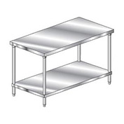 "Aero Manufacturing 3TS-30144 144""W x 30""D Deluxe Flat Top Stainless Steel Workbench w/ Undershelf"