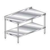 "Aero Manufacturing 3TSS-30144 144""W x 30""D Stainless Steel Workbench, 2-3/4"" Backsplash, SS Shelf"