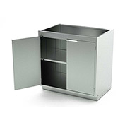 """Aero Stainless Steel Base Medical Cabinet BC-1201 - 2 Hinged Doors 1 Shelf, 36""""W x 21""""D x 36""""H"""