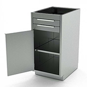 Aero Stainless Steel Base Medical Cabinet BC-1501 - 1 Hinged Door 1 Shelf 2 Drawers, 24x21x36