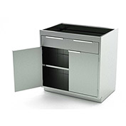Aero Stainless Steel Base Medical Cabinet BC-1600 - 2 Hinged Doors, 1 Shelf 1 Drawer, 30x21x36
