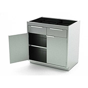Aero Stainless Steel Base Medical Cabinet BC-1800 - 2 Hinged Doors 1 Shelf 4 Drawers, 30x21x36