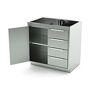 Aero Stainless Steel Base Medical Cabinet BC-1901 - 1 Hinged Door 1 Shelf 4 Drawers, 36x21x36