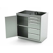 Aero Stainless Steel Base Medical Cabinet BC-2002 - 1 Hinged Door 1 Shelf 5 Drawers, 36x21x36