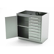 Aero Stainless Steel Base Medical Cabinet BC-2103 - 1 Hinged Door 1 Shelf 8 Drawers, 48x21x36