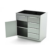 Aero Stainless Steel Base Medical Cabinet BC-2203 - 1 Hinged Door 1 Shelf 5 Drawers, 48x21x36
