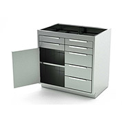 Aero Stainless Steel Base Medical Cabinet BC-2401 - 1 Hinged Door 1 Shelf 7 Drawers, 36x21x36