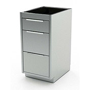 """Aero Stainless Steel Base Medical Cabinet BC-2800 - 3 Drawers, 18""""W x 21""""D x 36""""H"""
