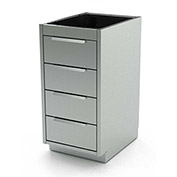 "Aero Stainless Steel Base Medical Cabinet BC-2900 - 4 Drawers, 18""W x 21""D x 36""H"
