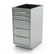 "Aero Stainless Steel Base Medical Cabinet BC-3000 - 5 Drawers, 18""W x 21""D x 36""H"