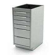 "Aero Stainless Steel Base Medical Cabinet BC-3100 - 6 Drawers, 18""W x 21""D x 36""H"