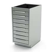 "Aero Stainless Steel Base Medical Cabinet BC-3200 - 8 Drawers, 18""W x 21""D x 36""H"