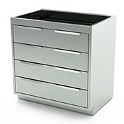 """Aero Stainless Steel Base Medical Cabinet BC-3301 - 4 Drawers, 36""""W x 21""""D x 36""""H"""